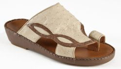 Mauri 1264/2 Nutmeg / Off White Genuine Crocodile Flanks / Ostrich Platform Sandals.