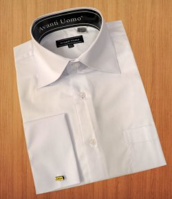 Avanti Uomo Solid White Cotton Blend Dress Shirt With French Cuffs DN32M