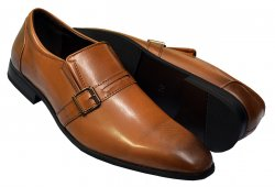 Faranzi Brown Burnished PU Leather Monk Strap Loafer Shoes F41527