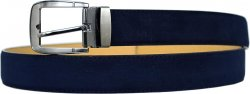 Serpi Navy Blue Genuine Suede Leather Wide Width Belt SSP/35