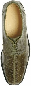 "Belvedere ""Marco"" Olive All-Over Genuine Ostrich Shoes"