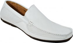 Masimo 2069-07 White With White Stitching Leather Driving Moccasin Style Loafers