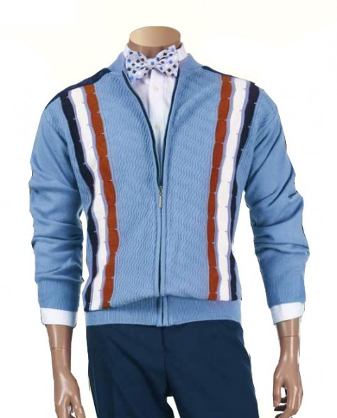 Inserch Light Blue / Navy / Rust / White Zip-Up Sweater With Microsuede Elbow Patches 438