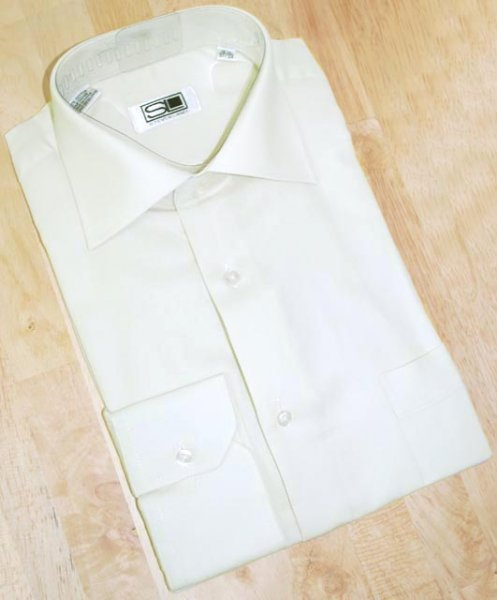 Steven Land Cream Woven Convertible Cuffs 100% Cotton Dress Shirt DS001