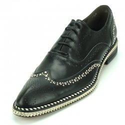 Fiesso Black Leather Lace-Up Shoes With Silver Sole Bracelet / Studs FI7201.