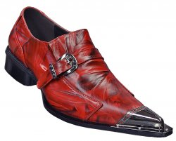 Fiesso Red Genuine Leather Loafer Shoes With Metal Tip FI6053.