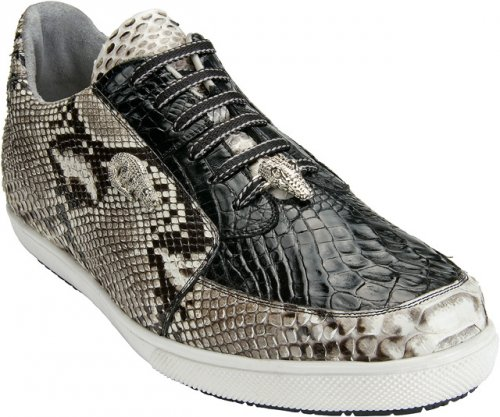 "Belvedere ""Angelo"" Black / White Genuine Crocodile And Burmese Python Skin Sneakers"