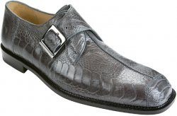 "Belvedere ""Dolce"" Grey All-Over Genuine Ostrich Monk Strap Shoes"