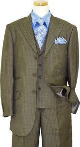 Bertolini Pebble Grey With Sky Blue Pinstripes Wool & Silk Blend Vested Suit 74056