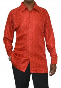 Bagazio Red / Wine Embroidered Artistic Design Microfiber Casual Long Sleeves Shirt BM1161