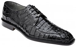"Belvedere ""Chapo"" Black All-Over Genuine Hornback Crocodile Shoes 1465."