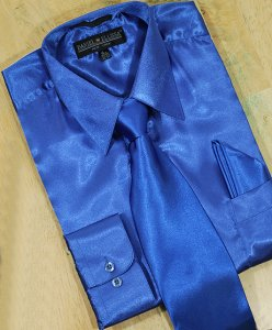 Daniel Ellissa Royal Blue Satin Dress Shirt/Tie/Hanky Set