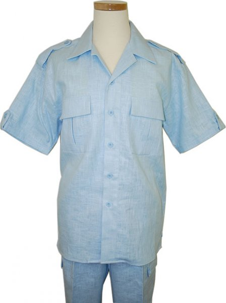 Successos 100% Linen Sky Blue 2 Pc Safari Outfit SP3222