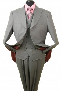 R&B S229-1 Gray with Lavender Stripes Super 150's Merino Wool Suit