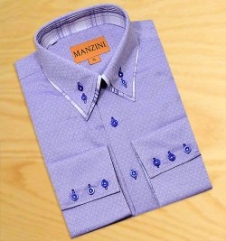 Manzini Navy Blue Self Design With Navy / Tan / White Plaid Double Layered High Collar 100% Cotton Dress Shirt W4