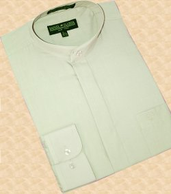 Daniel Ellissa Mint Green Banded Collar Cotton Blend Dress Shirt