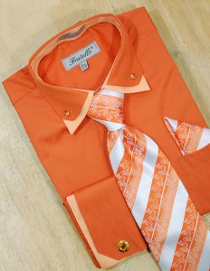 Fratello Orange/Peach Double Collar With Rhinestones And French Cuffs Shirt/Tie/Hanky Set With Free Cufflinks FRV4111P2