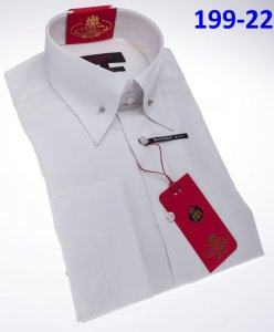 Axxess Classic White Modern Fit Cotton Dress Shirt With French Cuff 199-22.