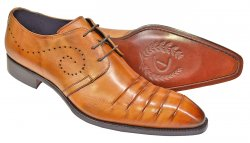"Duca ""Pesaro"" Cognac Hand Painted Calfskin Pleated Toe Lace-Up Shoes"