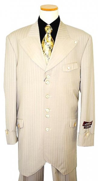 Ace By AC Green Collection Ivory Shadow Stripes Super 150's Merino Wool Suit