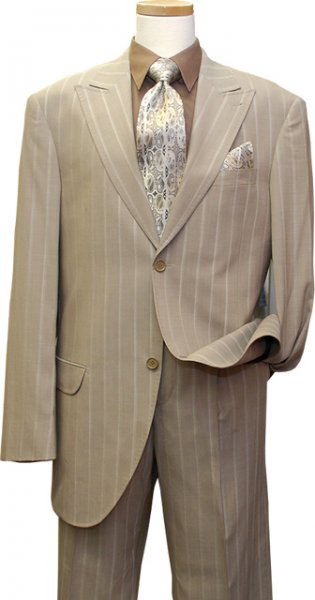 Azione by Zanetti Taupe With Dark Taupe Pinstripes Super 120's Wool Suit BL40956
