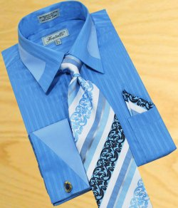Fratello Sky Blue Shadow Stripes With Baby Blue Trimming Shirt/Tie/Hanky Set With Free Cuff links FRV4104