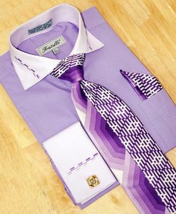 Fratello Lavender w/ Dash Design Shirt/Tie/Hanky Set DS3721P2