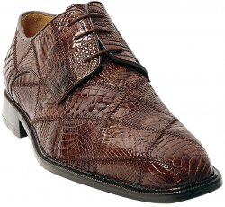 "Belvedere ""Mario"" Brown All-Over Crocodile Patchwork Shoes"