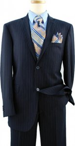 Elements by Zanetti Navy Blue With Sky Blue / Charcoal Grey Pinstripes Super 120's Wool Suit ZZ50167
