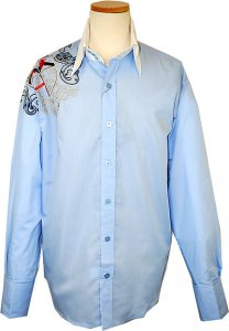 Manzini Sky Blue With Navy/Gold/Red Emroidered Emblem Design Button Down High Collar Long Sleeves 100% Cotton Shirt With French Cuffs MZ-88