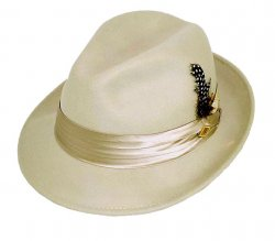 Stacy Adams Eggshell 100% Wool Felt Fedora Dress Hat SAW566