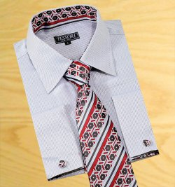 Tessori Silver Grey With Diamond Embroider Self Design Spread Collar Shirt With / Tie / Hanky Set With Free Cufflinks SH-304
