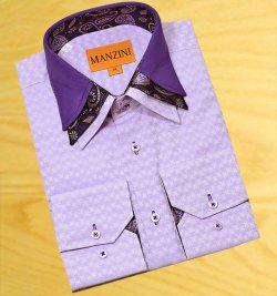 Manzini Lavender Jaquard With Black/ Violet / Lavender Paisley Triple Layered High Collar 100% Cotton Dress Shirt V2