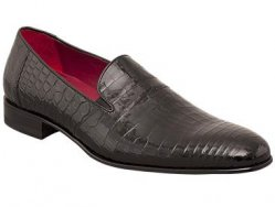 "Mezlan ""Calvino"" Black Genuine Exotic All-Over Alligator Loafer Shoes"