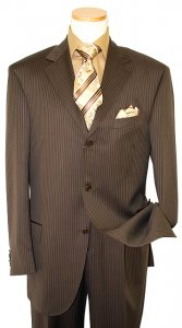 Extrema by Zanetti Dark Brown With Taupe Pinstripes Super 140's Wool Suit