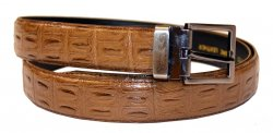 Serpi Dark Taupe Hornback Crocodile Print Genuine Leather Belt GB-138
