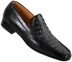 Mauri 3972 Black Hornback Crocodile / Pecary Loafer Shoes