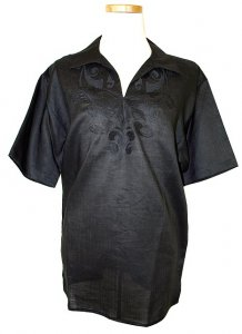 Successos 100% Linen Black Embroidered Shirt S3231