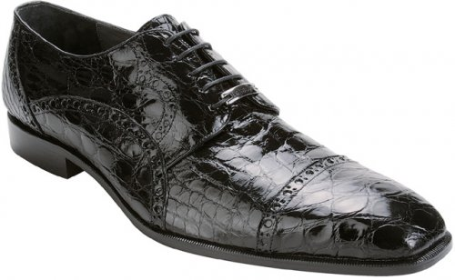 "Belvedere ""Lupo"" Black All-Over Genuine Crocodile Belly Shoes"