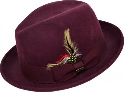 Scala Burgundy 100% Wool Felt Godfather Dress Hat