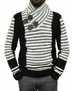 Barabas White / Black Modern Fit Zip-Up Hooded / Buckled Cardigan Sweater WZ251