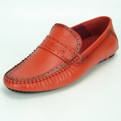 Fiesso Red PU Leather Perforated Casual Loafer FI2323.
