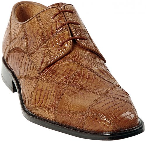"Belvedere ""Mario"" Honey All-Over Crocodile Patchwork Shoes"