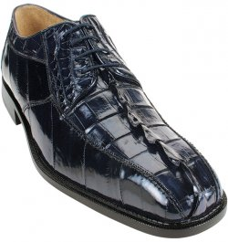 "Belvedere ""Bruno"" Navy Genuine Hornback Crocodile/Eel Shoes."