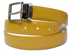 Serpi Honey Mustard Alligator Print Genuine Leather Belt GB-110