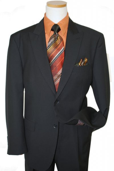 Steve Harvey Classic Collection Black Self Pinstripes Super 120's Suit 6700
