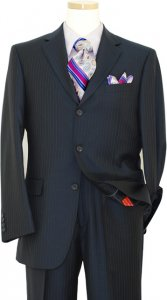 Mantoni Navy With Lavender Pinstripes Super 140's 100% Virgin Wool Suit 71106