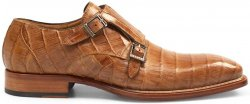 "Mezlan ""Prague"" Camel Genuine Crocodile Double Monkstrap Shoes 3998-F"