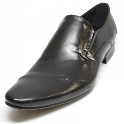 Encore By Fiesso Black Leather Loafer Shoes FI3160