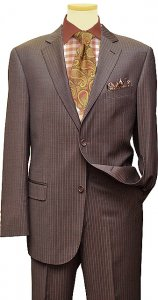 Jeffrey Banks Chocolate Brown With Taupe Pinstripes Suit 2109/722456/74